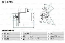 MERCEDES C43 AMG S202, W202 4.3 Starter Motor 97 to 01 M113.944 Genuine Bosch