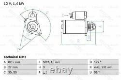 Starter Motor Audi VW SkodaA4, A6, PASSAT, A8, ALLROAD, SUPERB I 1, CABRIOLET 313910