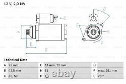 Starter Motor fits AUDI Bosch 02E911024A Genuine Top Quality Guaranteed