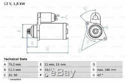 Starter Motor fits LAMBORGHINI GALLARDO 5.0 07 to 09 Genuine Bosch Guaranteed