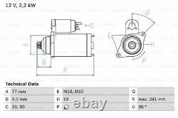 Starter Motor fits MITSUBISHI PAJERO/SHOGUN Mk3 3.2D 00 to 06 4M41 Genuine Bosch