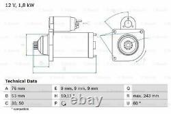 Starter Motor fits VOLKSWAGEN CARAVELLE Mk4 1.9D 95 to 03 Manual Genuine Bosch