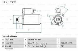 Starter Motor fits VW GOLF 1J 1K, 1K PLUS 3.2 1.9D 2.0D 02 to 08 Genuine Bosch