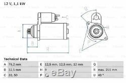 VW GOLF Starter Motor 1.4 1.6 1.8 2.0 91 to 08 Bosch 020911023F 020911023FX