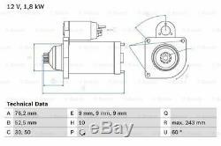 VW TRANSPORTER Mk4 Starter Motor 2.5 2.5D 90 to 03 Manual Bosch 02B911023D