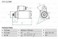 VW TRANSPORTER Mk5 2.5D Starter Motor 04 to 09 Bosch 02M911023Q 02M911023QX