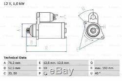 Démarreur Vw Polo 9a 1.4 Manuel D'utilisation 03 À 07 De Bosch 02t911023g 02t911023gx