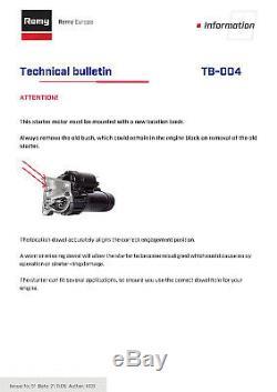 Peugeot 505 551a 2.5d De Démarrage Du Moteur 83-93 Remy Remplacement De La Qualité D'origine