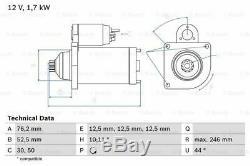 Vw Transporter Mk5 1.9d Démarreur 03 À 09 Bosch Volkswagen Qualité